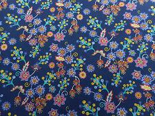 Liberty of London Saville Poplin Fabric 'Buds & Berries' 0.8 METRES Blue/Orange