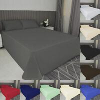 Flat Sheet Bed Sheet Hotel Quality Plain Dyed Polycotton Single Double King Size