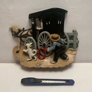 BURWOOD Wall Hanging Decor Plaque AMISH COUNTRY BUGGY HOMCO 3340-2
