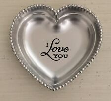 "Heart Shape Silver Tone Zinc Trinket Dish Jewelry Holder ""I Love You"""