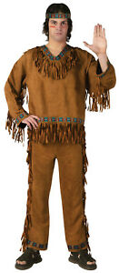 Native American Man Costume Brown Faux Suede 3Pc Pants Top & Headband Lg/Xl