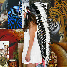 Real Chief Indian Headdress 125cm Native American Costume Feathers War Bonnet