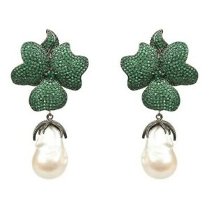 Studded Green Flower Baroque Pearl White Gold Plated Party wear Dangle Earrings