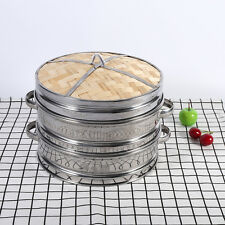 Dim Sum Basket Pasta Cookers Set Bamboo Lid 20CM 2 Tier Stainless Steel Steamer