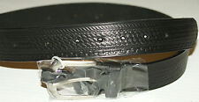 NEW BLACK LEATHER BELT W/BUCKLE BASKET/ROPE   34 X 1 1/2  FREE S/H
