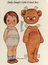 Dolly Dingle Teddy Bear Joey Paper Doll Vintage Postcard Grace G Drayton Unused