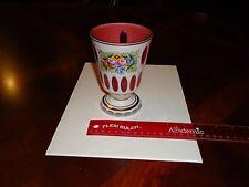 "BEAUTIFUL UNIQUE 5-1/2"" Cranberry Pink, White Cut Crystal Flower Pedestal Vase"