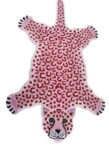 Pink Leopard Skin Shape 3' x 5' Handmade Tufted 100% woollen Rugs