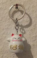 Winkekatze Maneki Neko - Glücksbringer - Schlüsselanhänger als Glöckchen - weiß