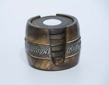 FREE SHIPPING AamiraA Handmade Wooden Round Coasters With Barrel Holder (6 Pack)