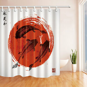 "Traditional Japanese style Waterproof Bathroom Koi carps Shower Curtain set 71"""