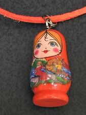 "Russian Doll Wooden Orange A Charm Cord 16"" Necklace BIN"
