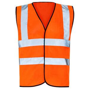 Orange Hi Vis Vest High Viz Visibility Waistcoat Safety Jacket EN471 Work Size