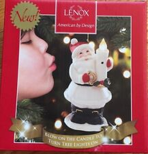 Lenox Blow on the Candle to Turn Tree Lights On/Off Sensor Ornament Snowman New