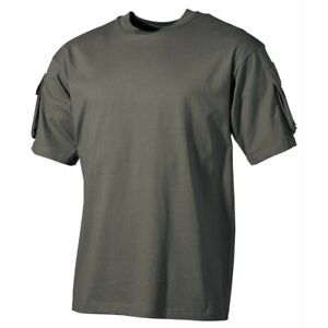 OLIVE US ARMY MILITARY SHORT SLEEVE T SHIRT COMBAT STYLE  2 ARM SLEEEVE POCKETS