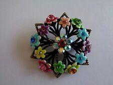 Vintage style enamel diamante floral brooch-Aussie seller Brand new in packaging