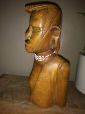"""Large Vintage Solid Wood Man Figurine Bust, Bead Necklace/Earring, 8 1/2"""" Tall"""