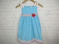 Petit Ami Girls size 6X Blue and Red Ric Rac Ruffle Polka Dot Summer Dress