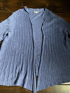 Eileen Fisher Twinset 1X / 2X Cardigan Tank Top Set Blue Linen