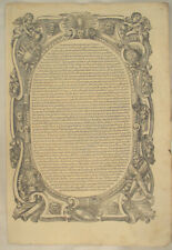 BUCHDRUCK Großes HOLZSCHNITT Blatt um 1580 ovaler SATZSPIEGEL Rollwerk Engel