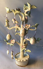 "Lenox ~ 12"" Ivory Porcelain Easter Ornament Tree ~ 12 Miniature Ornaments"