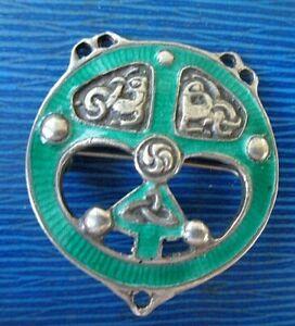 Stg. Silver & Enamel Iona Celtic Brooch h/m 1952 Darby & Son / Alexander Ritchie