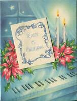 VINTAGE CHRISTMAS EVE BLUE PIANO CANDLES AGLOW POINSETTIA SONGS GREETING CARD