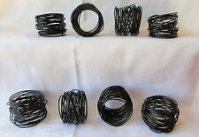SET OF 8 BLACK  METAL TWISTED  WIRE NAPKIN RINGS