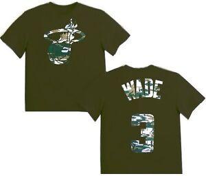 Miami Heat Dwayne Wade #3 Majestic Boys Camo T Shirt Olive Youth Sizes