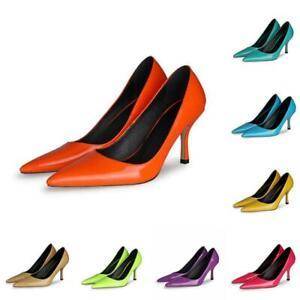 Elegant Women's Banquet Casual Pointy Toe Pumps Ladies Pure Colors Shoes 44 45 L