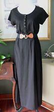 ES Sutton Black Cotton Knit Cap Sleeve Maxi Shirt Dress XL? 39 Bust