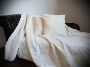 3tlg. Set Luxus Tagesdecke Kuscheldecke Decke Weiß / Elfenbein + 2 Kissen 40x40