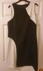 Black and White 60's Inspired Shift Dress, Fully Lined - Size 12