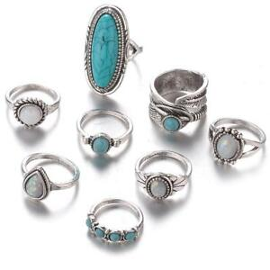Anillos Antique Silver Ring Boho Bohemian Crystal Female Turquoises Ornaments LA