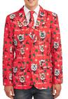 Alpine Cats Skiing Size XL (46-48) Ugly Christmas Blazer Jacket & Tie Set NEW