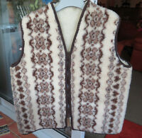 Mens pure new wool patterned waistcoat gilet size XL nwot