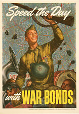 Original Vintage WWII Poster Speed the Day with War Bonds by Joseph Hirsch 1943