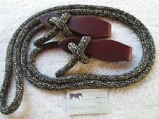 SLOBBER STRAPS w Antique Nickel Star Conchos 4 Mecate Reins by Rose Lodge Equine