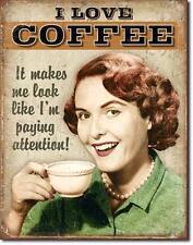 Ich liebe Kaffee Metall USA Deko Vintage Design Schild - I love Coffee