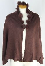 Womens Clothing Floral Pattern Brown Shawl Wrap with Faux Fur Balls Size Medium