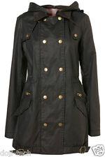 Topshop Black Waxed Hooded Check Lined Vtg Parka Jacket Coat 8 6 10 36 US4 S