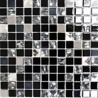 selbstklebend Mosaikfliesen Glasmosaik  Edelstahl schwarz 200-4CM26 | 1 Matte