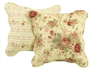 ANTIQUE ROSE ACCENT PILLOW SET : CHIC COTTAGE CREAM YELLOW SHABBY RED ROSES