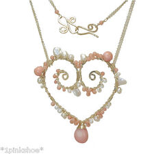 Necker 342 ~Pearl Heart Pendant Necklace with Stone & Metal Choice