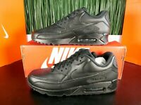 Nike Air Max 90 Leather Mens Running Shoes Triple Black 302519-001 Size 8-13