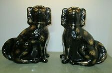 """Staffordshire Dogs 12"""" Black Gold"""