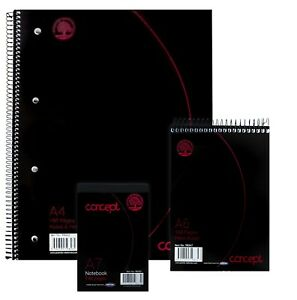Concept A4, A6, A7 Lined Notepad / Notebook Spiral / Tape Bound Ruled Jotta Pads