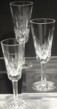 3 Vintage Waterford Crystal Lismore Continental Champagne Flutes Glasses Ireland