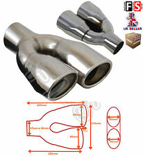 """UNIVERSAL STAINLESS STEEL EXHAUST TAILPIPE 2.25"""" INLET TWIN PAIR-Ford 3"""