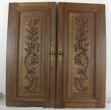 French antique walnut door cabinet panel  foliage